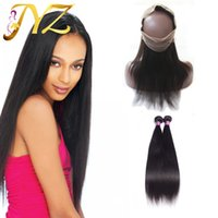 Brazilian virgin hair straight with frontal 360 lace frontal...