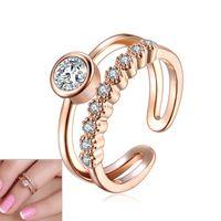 Модное суставовное кольцо с суставным кольцом Женщин TOE кольцо розовое золото и посеребренные австрийский кристалл Zircon Zircon MIDI набор середины пальцев кольца