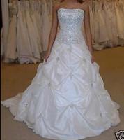 2020 Più nuovo elegante Beaded Bianco Abiti da sposa con Appliques Ball Gown Long Wedding Party Abiti Abiti da sposa WD1069
