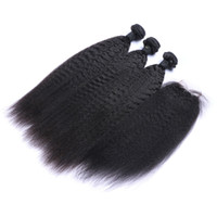 Kinky Straight Hair Weft With Closure 8A Quality Unprocessed...