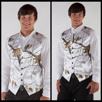 2017 Hot V Neck Camo Mens Wedding Vests Mans Groom Wear Realtree Snow White Formal Tuxedo Vest Custom Made