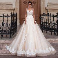 Scoop Scoop Scollo Champagne Colour Ball Gowns Abito da sposa Applique Illution Illusione Indietro Abito da sposa Vestido Para Casamento