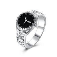 Haute qualité! Plaqué argent 925 Promise Ring Montre de mode Forme Zircon Anneaux Argent Plaqué pour Homme Femmes taille US6-11