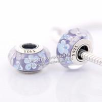 S925 gioielli in argento sterling luce viola fiori bianchi perle di vetro di murano adatto europeo fai da te pandora braccialetti di fascino collana 150