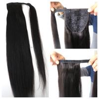 Extensions de queue de cheval de cheveux humains de mode queue de cheval de cheveux postiches queue de cheval droite de cheveux humains 20 pouces