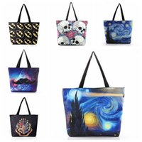 6 Stili Designer Digital Printed Borse da donna Canvas Harry Potter Skull Paisley Beach Borsa femminile Big Casual Borse a tracolla CCA7302 10 pezzi