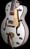 Rare Traumgitarre Gretsch Weiß Falcon E-Gitarren-Goldschein-Korpus Binding Hollow Body Doppel F Loch Bigs Tremolo Brücke Gold-Hardware
