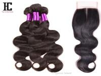 Onda del corpo dei capelli vergini brasiliani con chiusura 3 bundles capelli umani con chiusura 7A capelli vergini brasiliani con chiusura prodotti per capelli HC