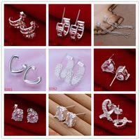 عالية الجودة الجملة الأزياء الاسترليني الفضة مربط القرط 10 أزواج مختلفة نمط المرأة 925 الأحجار الكريمة الأقراط الفضية GTE