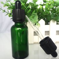 Wholesale- Green Glass Dropper Bottles With Childproof Cap T...