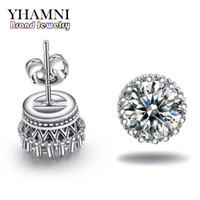 Yhamni جديد وصول حار بيع سوبر لامعة الماس 925 فضة السيدات مسمار تاج أقراط المجوهرات بالجملة e100
