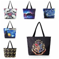 6 Stili Designer Digital Printed Borse da donna Canvas Harry Potter Skull Paisley Beach Bag Femminile Grande Casual Borse a tracolla CCA7302 50 pezzi
