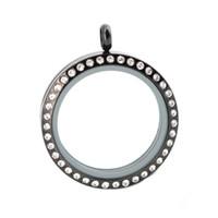 10 stücke 30mm runde magnet schwarz kristall edelstahl Memory living glas medaillon, glas medaillon schwimm charme für Frauen