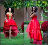 Sexy Ballkleid Red African Hallo Low Tulle Günstige Discount Prom Kleider 2019 Short Party Homecoming Kleider