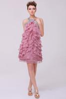 2016 Homecoming Kleider Perlen Halfter Schichten Rüschen Chiffon Röcke Sleeveless Mini Short Dusty Pink Echt Bilder Abendkleider
