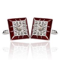 Nuevos gemelos de gemelos de esmalte de diamante de diamante Traje de negocios Botón de manguito Puños de manga para hombres Joyas de moda Will y Sandy New