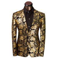 Toptan-2016 Marka Giyim Lüks Altın Mens Baskı Blazer Casual Çiçek Jaqueta de Luxo Blazer Ceketler Erkekler Için