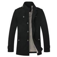 Aierma الرجال الصلبة خندق معطف الماندرين طوق أزياء الرجال معطف يتأهل ماركة الملابس عارضة سترة القطن