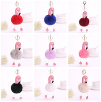 Brand new Flamingo hair ball key chain fur bag pendant PU le...