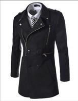 2016 Mode New Long Trench Manteau Hommes Zipper Double boutonnage Décoration Slim Fit Pois Manteau D'hiver Trenchcoat Veste