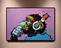 Scimmia indossando le cuffie di alta qualità di alta qualità moderna moderna animali astratti di pittura ad olio d'arte su tela della parete della parete della parete della tela Le dimensioni possono essere personalizzate