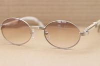 Großhandel Freies Verschiffen Großhandel Sonnenbrille Heiße Weiß Horn 7550178 Sonnenbrille Männer Größe: 55-22-135mm Gold Braun oder Silberbraun