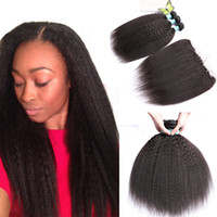 Brazilian Kinky Straight Human Hair 3 Bundles with 13x4 Lace...
