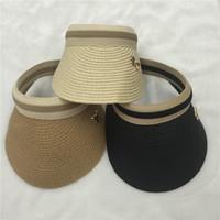 Al por mayor-2016 Nueva rayas viseras de paja de papel de verano para mujeres visera parasol tenis Bowknot señoras sombreros de sol negro beige