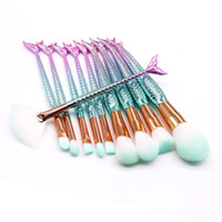 10pcs set Makeup Brushes Sets Mermaid 3D Colorful Profession...