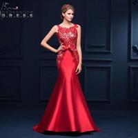 2019 새로운 우아한 붉은 레이스 인 어 공주 이브닝 드레스 저렴 한 공식적인 레이스 위로 파티 파티 가운