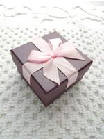 [بسيط سبعة] الصلبة الأرجواني سوار مربع / مهرجان قلادة حالة / قلادة كلاسيكي العرض / جميل حلق مربع / مجوهرات التعبئة الوردي BOWKNOT