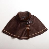 Gothic Lolita Punk Cap Bleu Filles / Brown Vintage Capelet broderie Cosplay Suede Tissu Outwear haute qualité