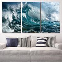 3 PCS HD imprimé Roturing Waves Peinture Toile Panneau d'impression Décor Imprimer Affiche Picture Toile Lienzos Cuadros Decorativos