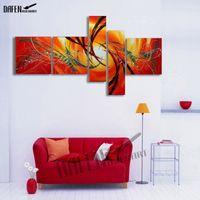 Pintura al óleo abstracta moderna 5 unidades pintadas a mano pintura de la lona sin descifrar arte de la pared lienzo sala de estar casera pinturas decorativas
