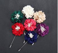Abiti fibra Fiore di nuova marca multicolore Lungo stile uomini di modo Spilla decorazioni Spille Pins accessori dei monili