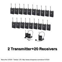 新しいツアーガイドトレーニングTAKSTAR UHF-938 UHF周波数ワイヤレスツアーガイドシステム50M動作範囲2送信機+ 20レシーバ