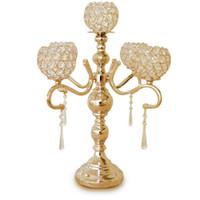 55 cm yüksekliği 5-kol, metal altın / kristal kolye giysisi mum tutucu Olay merkezinde 10 adet / çok gümüş candelabras