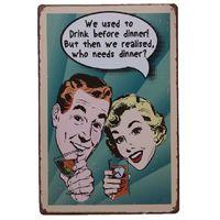Boire avant le dîner Retro rustique en métal signe d'étain Wall Decor Vintage Tin affiche Cafe Shop Bar décor à la maison