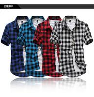 летние классические плед мужские рубашки с короткими рукавами, повседневные хлопчатобумажные мужские рубашки, бесплатная доставка по China Post Air Mail, M-XXXL,