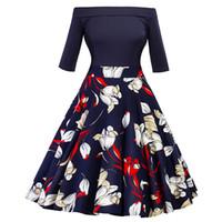 S-2XL 2018 새로운 슬래시 목 여자 드레스 빈티지 드레스 50s 레트로 인쇄 가운 라인 여성 파티 복고풍 인과 드레스 FS2556