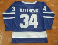 New Maple Leafs Jerseys # 34 Matthews Jersey 2017 New Brand Hockey Jerseys Color azul Tamaño 48-56 Orden de mezcla Alta calidad Todos los jerseys al por mayor
