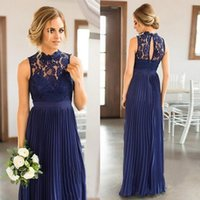 High collar lace hollow zipper back maid of honor wedding gu...