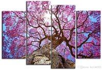 Абстрактная картина холста Art Pink Pretty Cherry Tree Print На Canva 4 шт. Стеновые картины для гостиной 16x32inchx3p Large Wall Art H167
