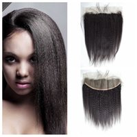 Brazilian Kinky Straight Hair Can Be Dyed Frontal Lace Closu...