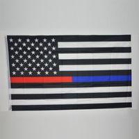 90 * 150см BlueLine США Полицейские флаги 3x5 футов Тонкая синяя линия Флаг США Черный, белый и синий американский флаг с латунными втулками 50шт