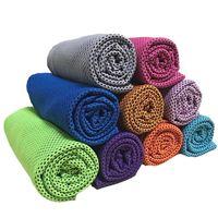 Doppelschicht Eiskaltes Handtuch Schweiß Sommer Übung Fitness Kühlen Schnell Trocknend Weich Atmungsaktiv Kühltuch für Erwachsene Kinder 10 Farbe 90 * 30 cm Heiß