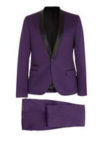 Новые фиолетовые смокинги для мужчин с черным атласным отворотом мужские свадебные смокинги для ужина для жениха поп-мужской костюмы куртки пиджака (куртка + брюки + галстук)