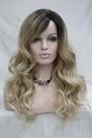 Hivision qualité chaude bonne Monofilament Partie latérale Chaleur ok Ombre Brun / Blonde Longue Bouclée Femme 'Perruque