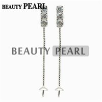 5 Pairs Thread Chain Earring Mountings Zircon 925 Sterling S...