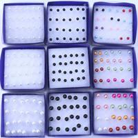 Ювелирные изделия много 288 шт. элегантный мода серьги прозрачный кристалл белый жемчуг серьги шпильки 1 коробка аллергия микс цвета